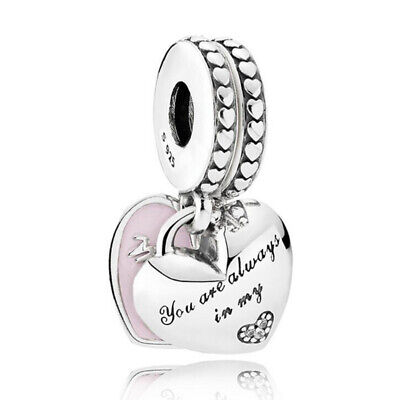 Genuine PANDORA Mother & Daughter Hearts Charm With Crystal Beads Silver UK • 21.99£