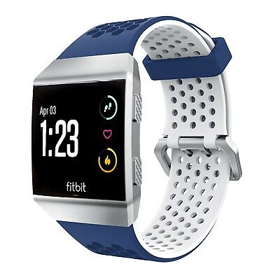$ CDN26.59 • Buy TUFF LUV Silicone Strap Bracelet Wrist Band For FitBit Ionic - Blue/White LARGE