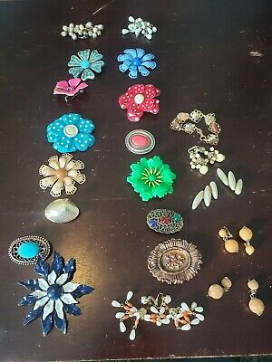 $ CDN8 • Buy LOT OF VINTAGE COSTUME JEWELRY BROOCHES & PINS And Earings