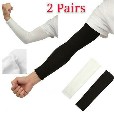 2 Pair Men Women Outdoor Sports Cooling Arm Sleeves Cover UV Sun Protection UK • 3.38£