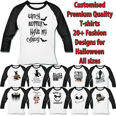 New 3/4 Sleeve Baseball Women Raglan T-shirt Many Halloween Fashion Designs Lot • 10.99£