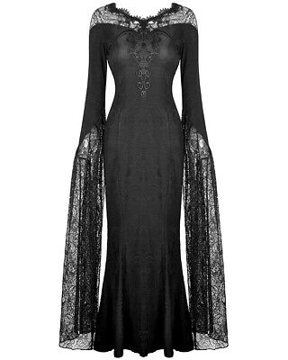 Dark In Love Long Gothic Maxi Dress Black Jacquard Floral Lace Sleeve Witch VTG • 59.99£