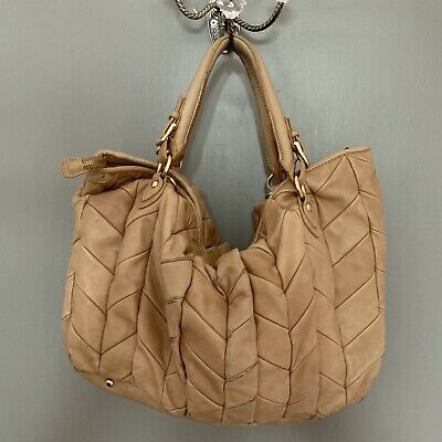 Large Tan Leather Bag Quilted Real Leather Italian Handbag • 6.70£
