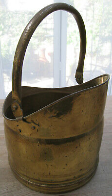 Old Brass Plate Coal Scuttle With Handle • 23.50£
