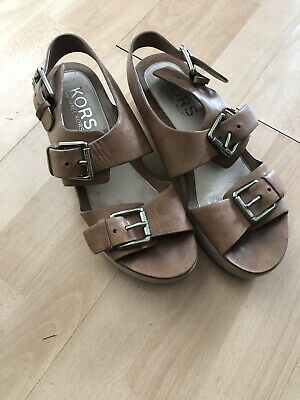 Michael Kors Brown Sandals Size 7 Buckle 8.5M • 3.90£