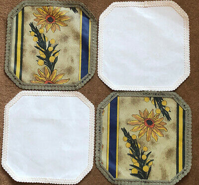 Vintage 70s PVC / Lace Trims Green & White-off Floral Table Mats Set Of 4 . New • 1.50£