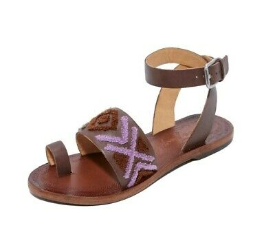 Anthropology Sandals Summer Free People Leather Toe Post Gladiator Embroidered 5 • 24.99£