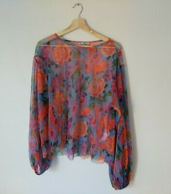 AU23.97 • Buy Zara Womens Floral Style Seethrough Blouse Top Size Small Long Sleeve Purple