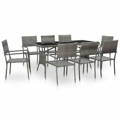 9 Piece Garden Dining Furniture Sets Poly Rattan Table+7 PCS Chairs Outdoor Grey • 306.50£