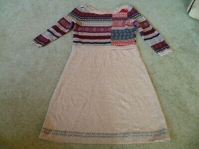 Monsoon Lambswool And Angora Mix Dress In Size M 12 14 Brown With Fair Isle  • 12.50£
