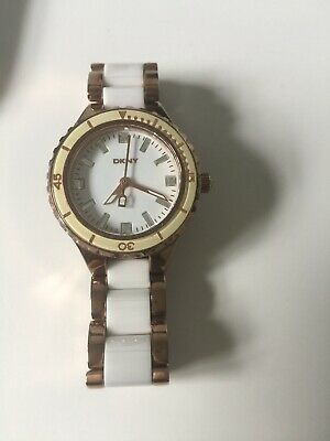 DKNY Ladies White And Gold Ceramic Watch VGC • 13.99£