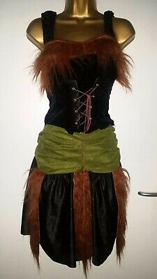 Shrek Fiona Princess Outfit Green Black Lace Up Front Dress Halloween One Size • 5£
