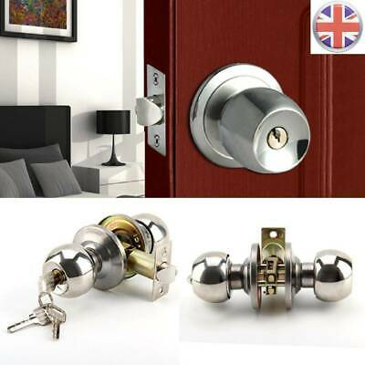 UK Stainless Steel Round Knobs Privacy Passage Entrance Lock Door Entry With Key • 6.29£