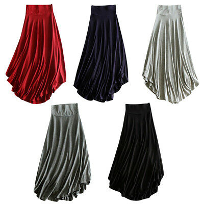New Women Chiffon Skirt High Low Asymmetrical Long Maxi Dress Elastic Waist • 8.45£