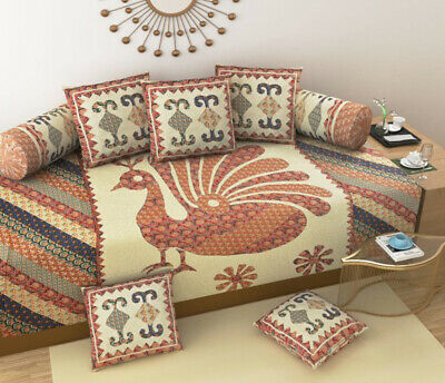 Indian Peacock Printed Diwan Set Sofa Cover Boho Cushion Covers Bolster Cover • 26.59£