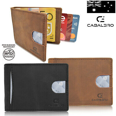 AU29.95 • Buy Cabaleiro Mens Slim Brown Leather Bifold Credit Card Wallet With RFID Blocking