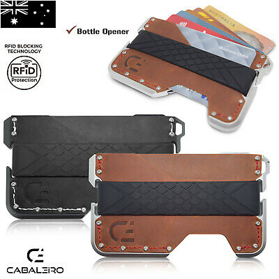 AU39.95 • Buy Mens RFID Slim Aluminium Brown And Black Leather Credit Card Holder Wallet