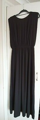 H&M Black High Neck And Low Back Maxi Dress / Evening Dress Size 14 • 4.25£
