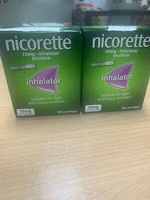 Brand New Nicorette Inhalator 15 Mg, 20 Cartridges X2  Fast Delivery 🚚 • 29.99£