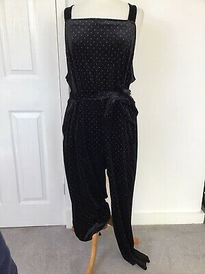 Monki Black Velour Silver Dotty Relaxed Belted Jumpsuit Square Neck Pockets L • 5£