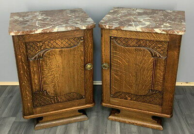 Rare Carved French Antique Bedside Tables Cupboards Cabinets With Marble Tops • 269£