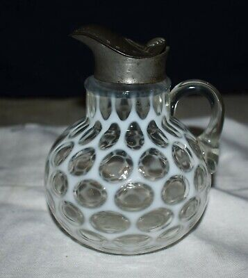 $17.50 • Buy Rare Antique Opalescent Coin Dot Syrup Pitcher W/ Pewter Hinged Cover Circa 1867