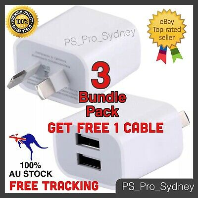 AU22.49 • Buy 3x Dual USB Phone Wall Charger 5v2A Power Adapter AU Plug & Free IPhone Cable