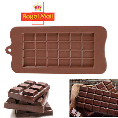 24 Cell Chocolate Bar Candy Mold Chocolatier Silicone Mould Snap Wax Melt UK • 1.99£