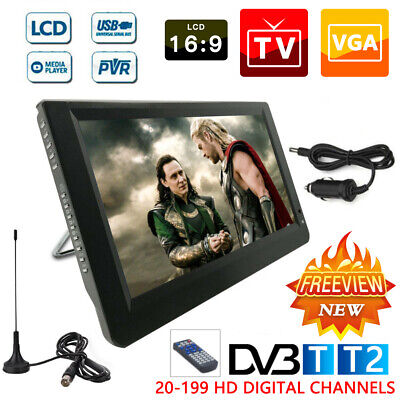 Freeview 1080P HD Portable Digital TV 12V For DVB-T2 14 Inch Player UK • 111.59£