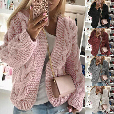 Women Winter Cardigan Knitted Sweater Coat Front Loose Outwear Chunky • 16.99£