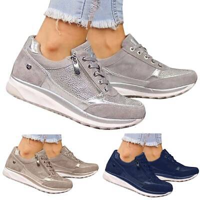 Women Lace Up Trainers Ladies Flat Comfy Fitness Gym Running Zip Up Sports Shoes • 16.89£