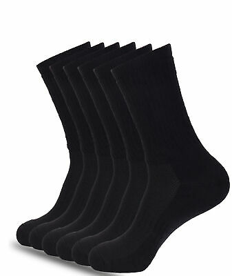 Mens Athletic Crew Socks Black 6 Pack Full Cushioned Arch Support All Sizes • 13.85£