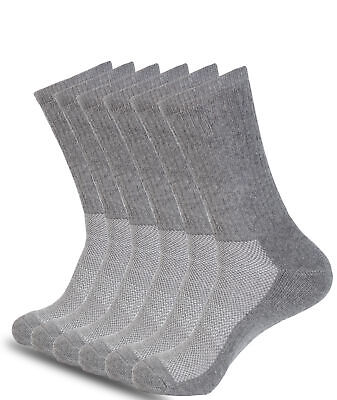 Mens Athletic Crew Socks Gray 6 Pack Full Cushioned Arch Support All Sizes • 13.85£