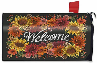 $16.99 • Buy Fall Flowers Welcome Magnetic Mailbox Cover Autumn Sunflowers Briarwood Lane
