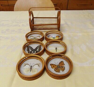 Art Deco Style  Wood & Glass Galleried Butterflies Coasters With Holder • 12£
