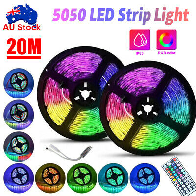 AU46.99 • Buy 5/10/20m Rgb Led Strip Lights Ip65 5050 60leds/m 12v+44 Key Ir Controller Au🔥