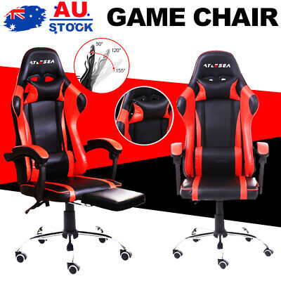 AU108.99 • Buy Gaming Chair Office Computer Seating Racing PU Executive Racer W/ Footrest AU
