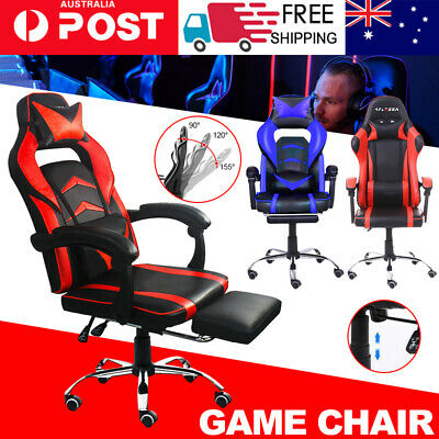 AU108.99 • Buy Computer Gaming Chair Executive Office Chairs Racer Recliner PU Seat Or Footrest
