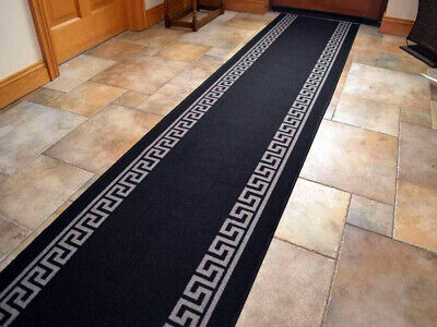 Black Hallway Stairway Runner Grey Greek Key Kitchen Non Slip Washable Mat Rug • 15£