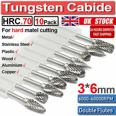 £8.99 • Buy 10Pcs Rotary Burr Bit Tungsten Carbide Point Die Grinder Shank Carving Set Tools