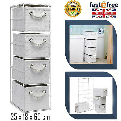 4 Drawer Home Storage Basket Tower Unit Bathroom Bedroom Nice Slim Rattan Wicker • 25.99£