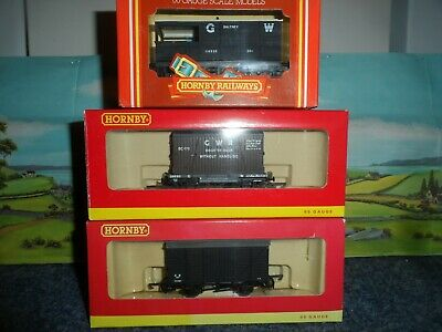 3 Hornby Model Railways Oo Gauge Gwr Wagons R6272, R6346a, R714 Mint In Boxes • 9.99£