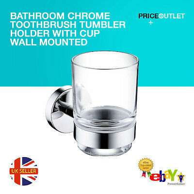 Bathroom Chrome Toothbrush Tumbler Holder With Glass Cup Wall Mounted • 6.99£