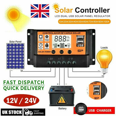 30/50/100A LCD MPPT Solar Panel Battery Regulator Charge Controller Dual USB • 9.59£
