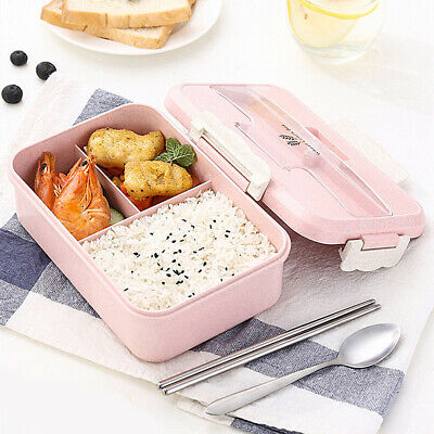 1200ML 3 Compartments Lunch Bento Box Food Container With Chopsticks Spoon Kits • 6.71£