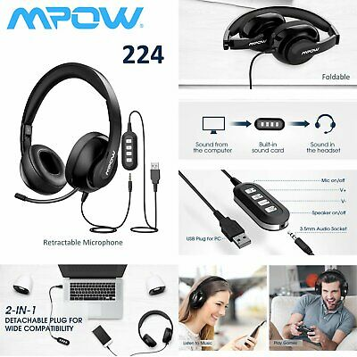 Mpow Headset Call Center Office Operator USB Corded Headphones With Microphone • 22.19£