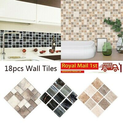 18PCS Mosaic Wall Tile Stickers Stick On Kitchen Wall Self-adhesive Bathroom UK • 6.39£
