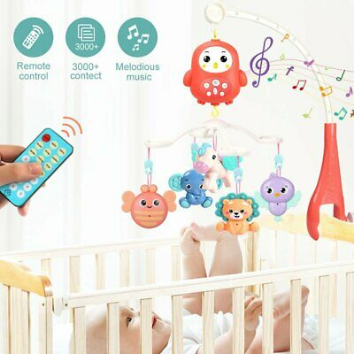 Baby Crib Mobile Musical Bed Bell With Controller Music Night Light Newborn Toy • 14.39£