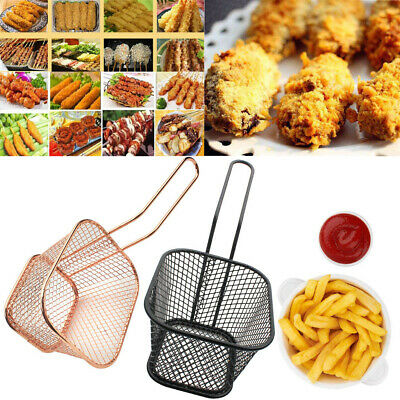 Mini Chips Fries Serving Basket Stainless Steel Food French Fryers Potato Wedges • 5.98£