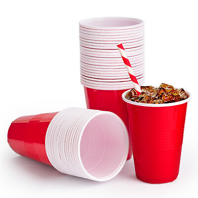 £5.99 • Buy Premium Red Plastic Party Cups Beer Pong - Disposable Drinking Game Cup Coffee